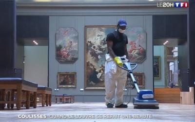 Nettoyage des lieux publics   TF1 s'invite au Louvre pendant la pandémie
